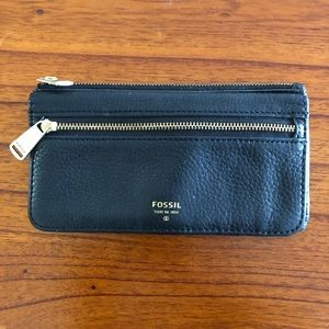 Fossil Preston Black Leather Multi Function Wallet